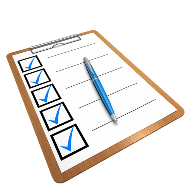 checklist on a clipboard